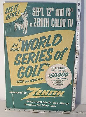 ZENITH 3RD ANNUAL WORLD SERIES OF GOLF STORE SIGN 1960s