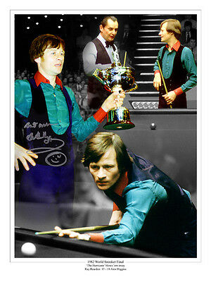 • HAND SIGNED 16x12 MONTAGE PHOTO SNOOKER ALEX HIGGINS