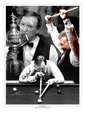 • HAND SIGNED 16x12 MONTAGE PHOTO SNOOKER DENNIS TAYLOR