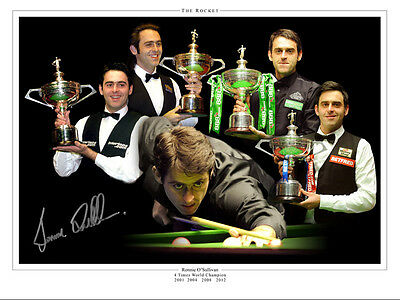• HAND SIGNED 16x12 MONTAGE PHOTO SNOOKER RONNIE O'SULLIVAN