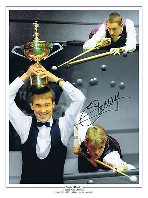 • HAND SIGNED 16x12 MONTAGE PHOTO SNOOKER STEPHEN HENDRY