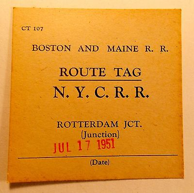 1951 Boston and Maine R.R. Route Tag