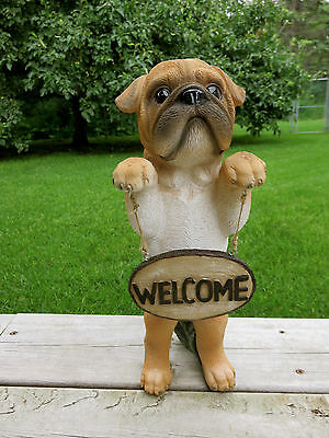 BOXER DOG  WELCOME STATUE FIGURINE PUPPY RESIN PET CANINE 14 in. standing