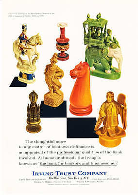 1964 Carved chess pieces photo Irving Trust Bank ad