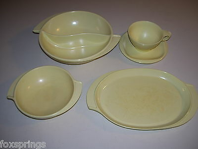 Boontonware 5 Piece Yellow Winged Bowl Platter Cup Lot  - BOONTON - MIS711