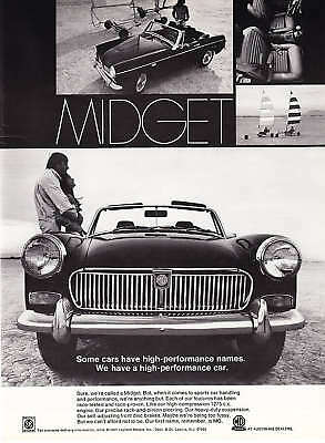 "1970 MG Midget Convertible photo ""High Performance Car"" vintage print ad"