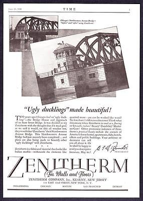 "1930 Chicago Northwestern Avenue Bridge photo ""Made Beautiful"" Zenitherm Ad"