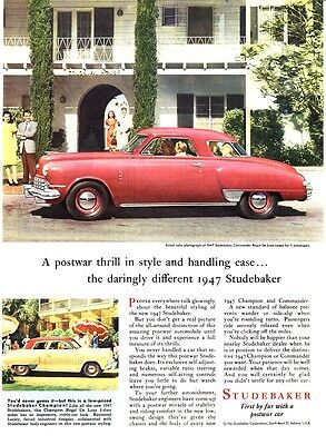 """1947 Studebaker Commander Regal Deluxe Coupe photo """"Daringly Different"""" print ad"""