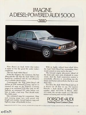 1980 blue Audi 5000 Diesel 4-door sedan print ad