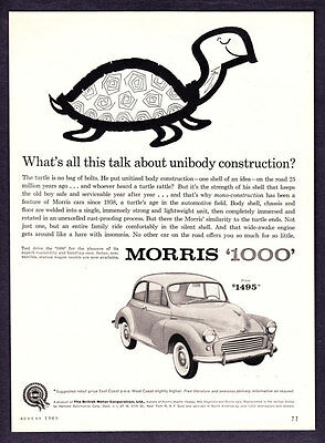 "1960 Morris 1000 Sedan photo ""Mono-Construction"" vintage promo print ad"