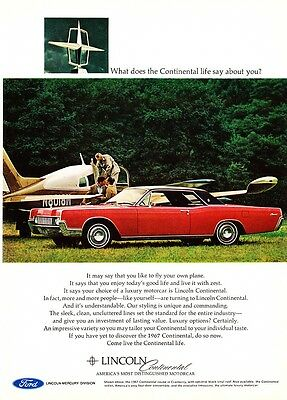 """1967 Continental Coupe photo """"The Continental Life"""" promo print ad"""