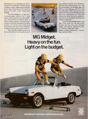 "1978 Skateboarding Over MG Midget ""Heavy On Fun"" Ad"