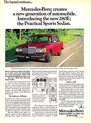 "1977 red Mercedes-Benz 280E ""Practical Sports Sedan"" vintage print ad"