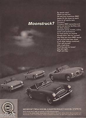 1962 Midget MGA 1600 Healey 3000 Sprite Photo print ad-