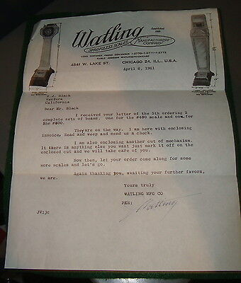 2 vintage company letters, penny scale,  watling, rockola, 1 comical-neat!