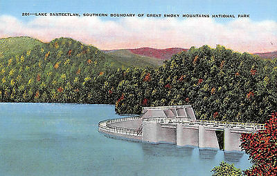 Lake Santeelah Southern Boundry Smoky Mountains Unposted Linen Postcard View