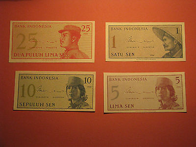 Set of 4 INDONESIA 1 5 10 25 SEN Banknotes 1964 UNC Currency Note Paper Money
