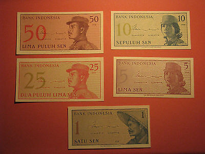 5 INDONESIA 1 5 10 25 50 SEN Banknotes 1964 UNC Currency Bill Note Paper Money