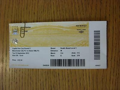 25/09/2012 Ticket: Manchester City v Aston Villa [Football League Cup] (Complete