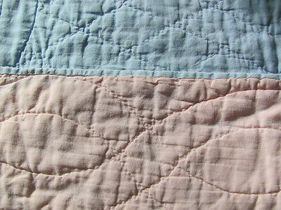 Vintage hand quilted child's crib quilt pink blue whole cloth