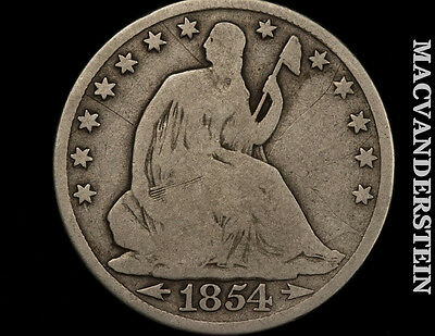 1854 Seated Liberty Half Dollar- Scarce !! Better Date !! #p843