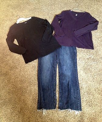 Size Large Maternity Blouse Tops & Jeans Lot