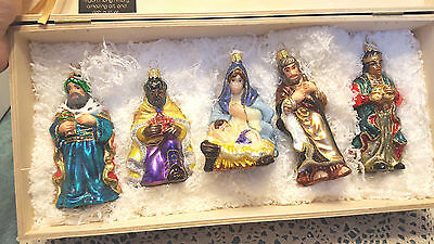 NEW Komozja Mostowski  LE Glass 5 Ornament Set THE NATIVITY  Wooden Hinged Box