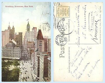 Aerial View Broadway Downtown  New York City 1912 Postcard - Architecture
