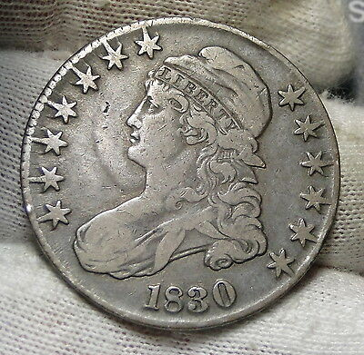 1830 Capped Bust Half Dollar - 50 Cents .Nice Coin .. Free Shipping  (4598)