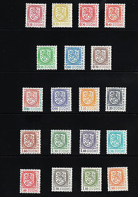 OPC 1975-1985 Finland Coat of Arms Lot of 19 all MNH