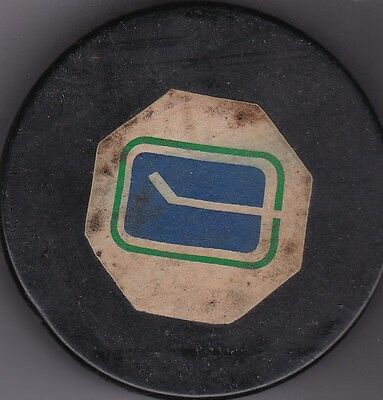 Vancouver Canucks Vintage Converse NHL Hockey Game Used Puck