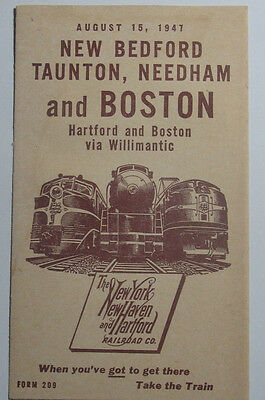 1947 New York New Haven & Hartford Railroad Co Timetables And Service Map