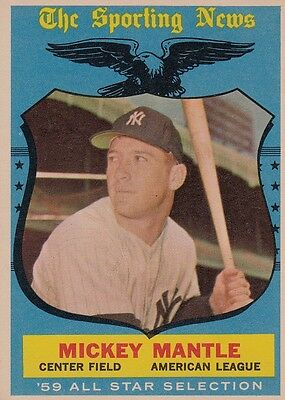 Topps 1959 #564 Mickey Mantle-Hall of Famer-New York Yankees-All Star
