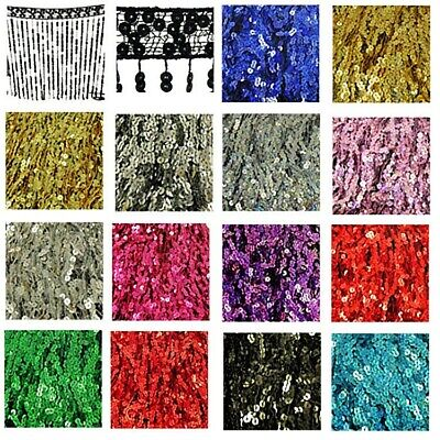 "Sequin Tassel Trim 27cm 10"" Luxury Fringe Fringing DIFFERENT COLOURS 1m / Sample"