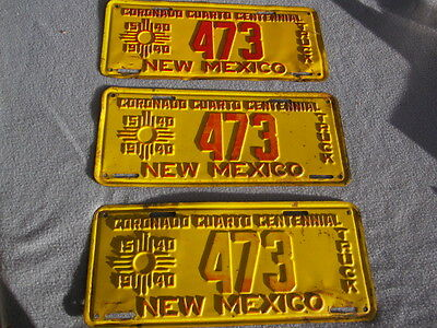 "1940 New Mexico Truck License Plate - original paint - Factory Error - ""Triplet"""
