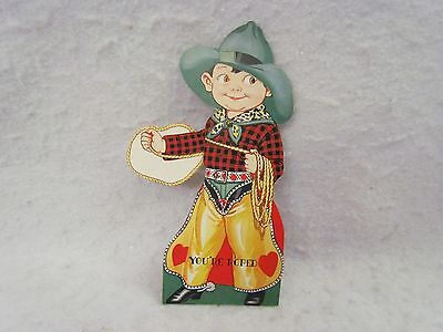 Vintage 1930's Mechanical Valentine:  Cowboy - You're Roped with Googly Eyes