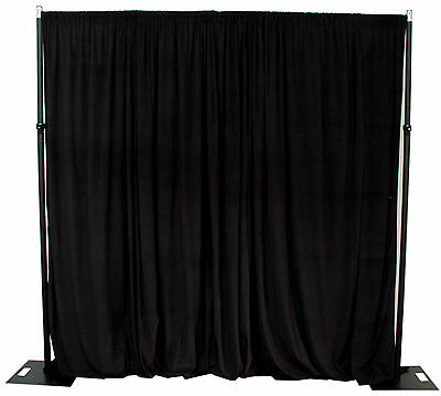 Black cotton velvet drapes/curtains 2.4m drop x 3m width 350gsm - fire retardant