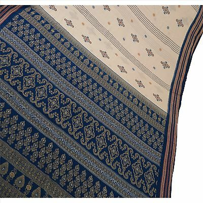 Sanskriti Vintage Indian Saree 100% Pure Cotton Woven White Fabric Cultural Sari