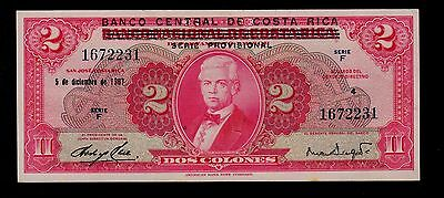 COSTA RICA 2 COLONES 1967 PICK # 235a  AU-UNC.