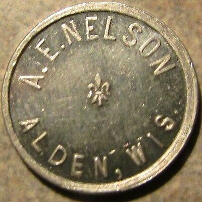 Very Old A.E. Nelson Alden, WI 5c Trade Token - Wisconsin Wisc.