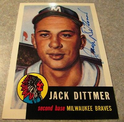 Jack Ditmer Signed Autographed Topps Archives #212 Milwaukee Braves Wisconsin