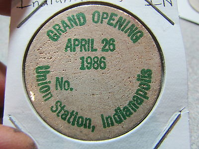 1986 Grand Opening Union Station Indianapolis, IN Wooden Nickel Token - Indiana