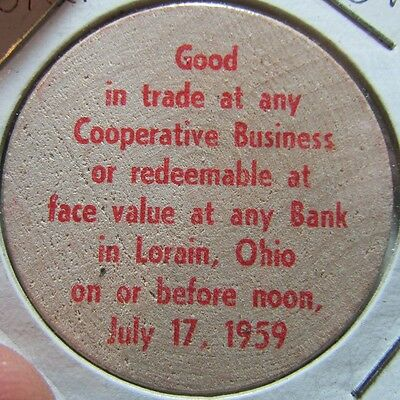 1959 Lorain, OH 125th Anniversary Wooden Nickel Token - Ohio