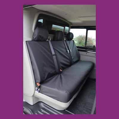 Renault Trafic Crew Cab Rear Bench in Bulkhead 2001-2014 Black Seat Covers