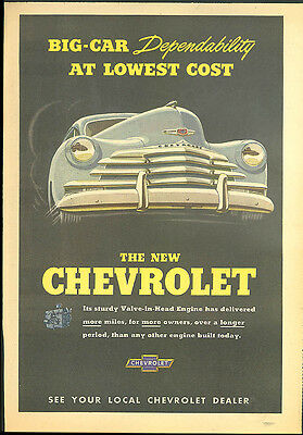 Big-Car Dependability at Lowest Cost Chevrolet ad 1947