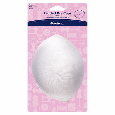 Pair of Padded Bra Booster Cups Providing Lift & Support in White, 14/16 Medium