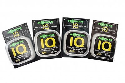 Korda NEW Carp Fishing IQ Flurocarbon Hooklink 20m *All Breaking Strains*