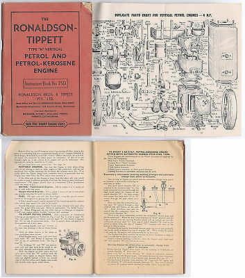 Orig c.1940's Ronaldson Tippett N Vertical Stationary Engine Instruction Manual