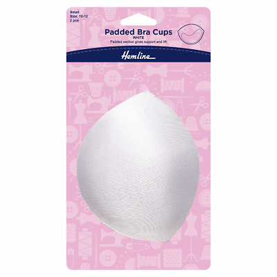 Pair of Padded Bra Booster Cups Providing Lift & Support in White, 10/12 Small