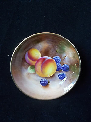 Royal Worcester Signed Hand Painted Fruit Pin Dish Dated 1954